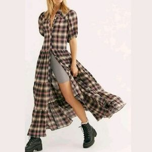 NWOT Free People Little Bit Of Plaid Maxi Dress